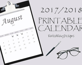 Printable Calendar 2017/2018 Start July - End June Back to School PDF Yearly Calendar