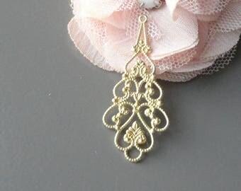 Gold metal, vintage metal filigree chandeliers connectors prints