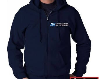 USPS Navy Blue Full Zipped Postal Hoodie - All sizes available!