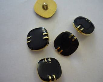 6 square button black and gold suppot golden metal 20 mm
