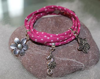 Liberty or Frou Frou print bias bracelets with silver/bronze color connectors