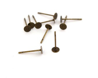 10 bronze metal, diameter 4mm studs earrings