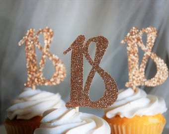Glitter Number 18 Cupcake Toppers