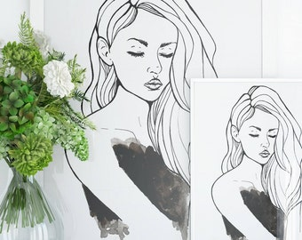 Drawing Of A Female- Wall art, Ink, Watercolor, Art Prints, Black, Linear Drawing, Sketch, Abstract, Painting, Long Hair