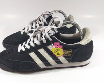 Vintage ADIDAS dragon sneakers black casual shoes Size 7.5uk / adidas shoes with three stripe