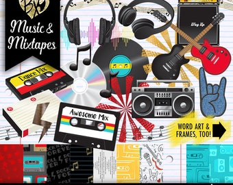 Music and Mixtapes FULL KIT (clipart & paper)