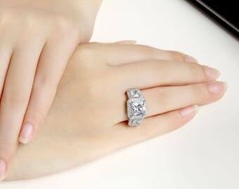 Princess 3-Stone CZ Sterling Silver Engagment Wedding Ring Women Size 3-12 Ss035