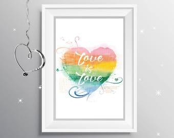Love Is Love Watercolor Rainbow Printable Wall Art, Rainbow Heart Love Printable Wall Art, Gay Art Print, Love Art Print, Pride Art, LGBTQIA