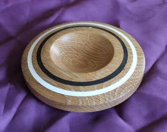 Hand-Turned Oak Dish - 6 inch diameter with Milliputt inlay