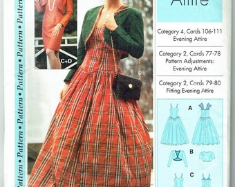 Evening Attire Ladies' Dress and Bolero Sizes 4-22 Multi-size Unused Vintage Sewing Pattern