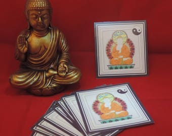 Table decoration: set of 6 coasters Buddha