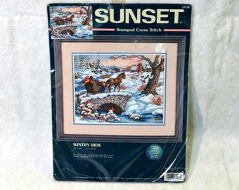 "Sunset Dimensions Stamped Cross Stitch Kit ""Wintry Ride"" 