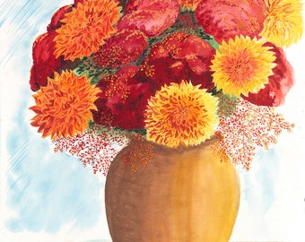 Dahlias Original Watercolor Painting on Arches Paper