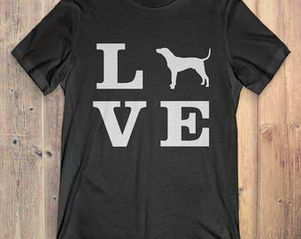 Redbone Coonhound Dog T-Shirt Gift: I Love Redbone Coonhound