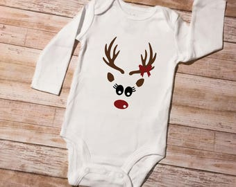 Girl/Boy Long Sleeved Bodysuit/ Reindeer/Rudolph