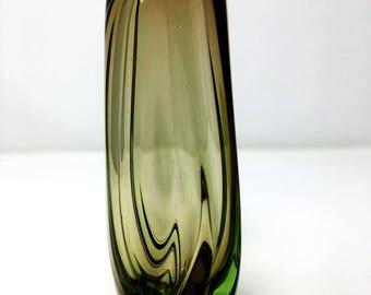 Vintage 1950's/1960's Skrdlovice/Beranek Bohemian/Czech Amber + Green Glass Vase