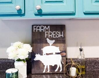 Farm Fresh Sign, Primitive Country Decor, Modern Country Decor, Rustic Country Decor, Country Kitchen Decor, Country Kitchen Wall Decor