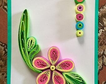 Quilling Card:Beautiful Original Handmade Quilling Art Card-Handmade Special Card for Friends-Special Card Design-Gift for Occasions