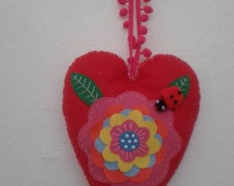 Red felt padded heart