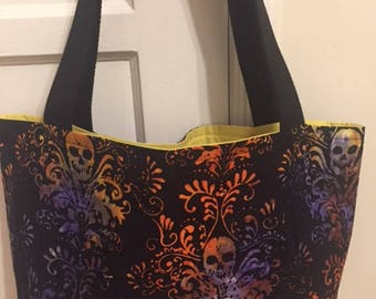 The World's Best Horror Tote Bag / Purse- Gothic Skull Watercolor