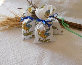 Handmade provence Lavender sachets moustier fabrics.