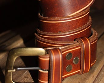 Woody brown color leather belt