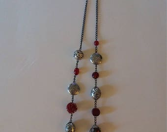Jewelry Red and Dark Silver Set
