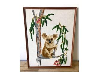 Vintage Crewel Koala Art - Framed 1970's
