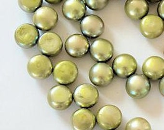 Green Freshwater Pearls 8.5mm Round Top Drilled