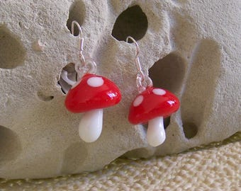 Fall earrings - glass mushroom
