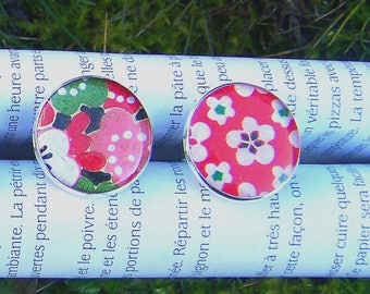 Rings silver rimmed floral Japanese paper