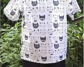 "T-shirt boy jersey Oeko-Tex certified white ""Herd of cats""."