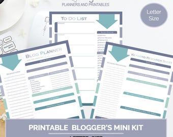 Blogger Mini Kit, Serene, printable 2018 calendar pages, organizational tool, blogging planner, scheduling tool, goals, letter size planner