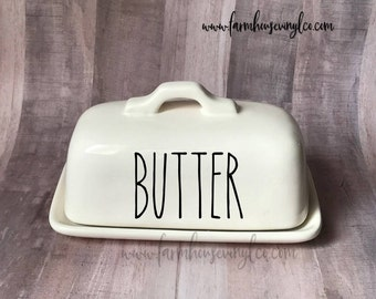Decal Only~Rae Dunn Inspired Butter Dish Vinyl Decal~Rae Dunn Decal~Kitchen Decor~Farmhouse Decor~~Butter Dish~Yum~Spread~Smear~Savor