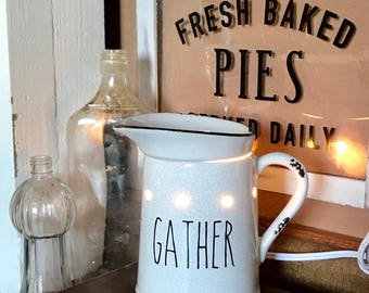 Rae Dunn Inspired Warmer Vinyl Decal~Rae Dunn Decal~Farmhouse Decor~Kitchen and Home Decor~Prairie Pitcher~Scentsy Warmer Decal~Gather~Y'all