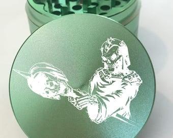 """Skull #16 Laser Engraved Herb Grinder - 4pc Skull Herb Grinder - 2.2"""" Herb Grinder - Skull Grinder - Skull Herb Grinder - Life Time Warranty"""