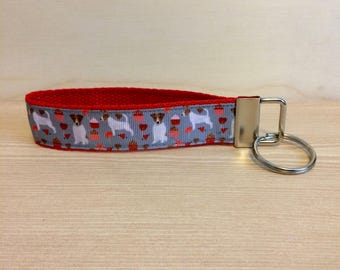 Jack Russell on red key fob - key ring wristlet - key fob wristlet - stocking stuffer gift