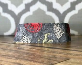 Handmade Headband/Fabric Headband/Reversible Headband/Women's Headband-Nerdy/Geeky Game of Thrones/Stark/Targaryen/Lannister &Baroque Flower