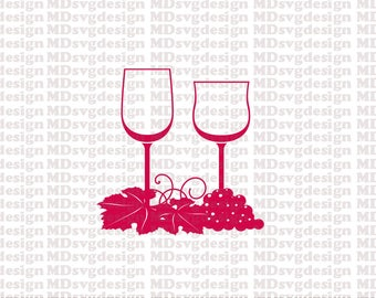 SVG DXF PNG Wine Glasses & Grapes