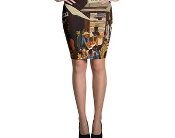 Hong Kong Vintage Scene Pencil Skirt