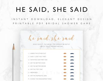 Bridal Shower Game Printable He Said She Said Game - Bride or Groom Guess Who Said It - Instant Download PDF A4 + US Letter Size - Marble
