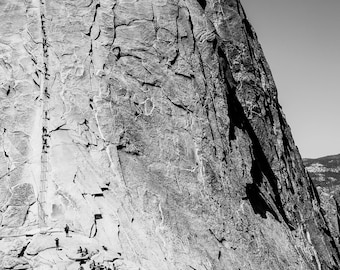 Nature Photography, Hiking Yosemite National Park Half Dome, Black and White Large Art Print, Homage to Ansel Adams