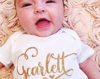 Customized Name Baby B, Baby Girl, Baby Boy, Baby Clothes, Baby Gift, Baby Shower, Customized, Name Onesie