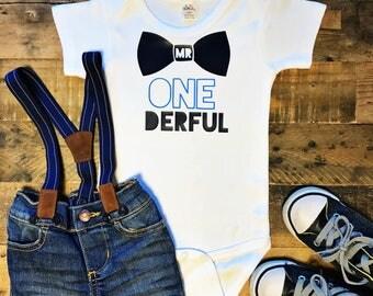Mr. One-derful Baby Bodysuit, Baby Boy, Baby Clothes, Baby Gift, Baby Shower, First Birthday