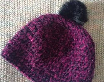 Hat crocheted in Merino, alpaca and silk