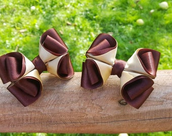 Little Girl Satin Boutique Hair Bow Fabric Gold Hairbow Brown Gold Handmade Toddler Girl Bow For Teen Hair Band Set Pigtail Ponytail Holder