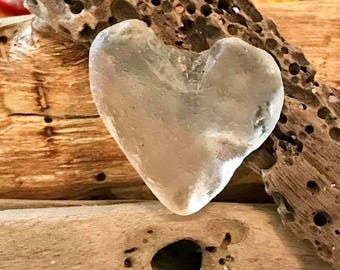 Clear Surf Tumbled Sea Glass Heart