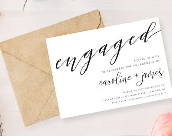 """Engagement Party Invitation   We're Engaged Printable   5"""" x 7"""""""