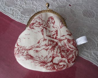 Wallet purse toile de Jouy, gold clasp