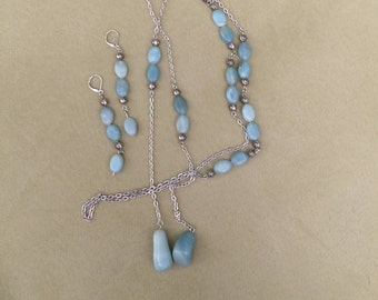 Blue and Silver Lariat Necklace